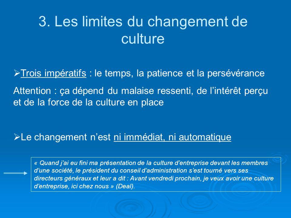 3. Les limites du changement de culture Trois impératifs : le temps, la patience et la persévérance Attention : ça dépend du malaise ressenti, de lint