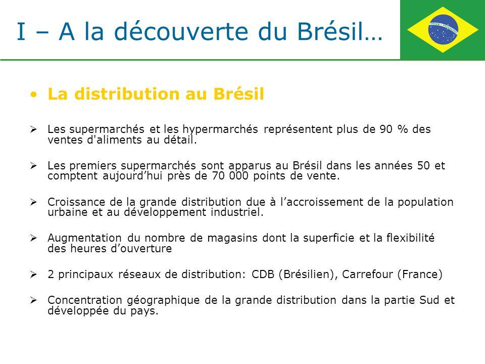 La distribution au Brésil Les supermarchés et les hypermarchés représentent plus de 90 % des ventes d'aliments au détail. Les premiers supermarchés so