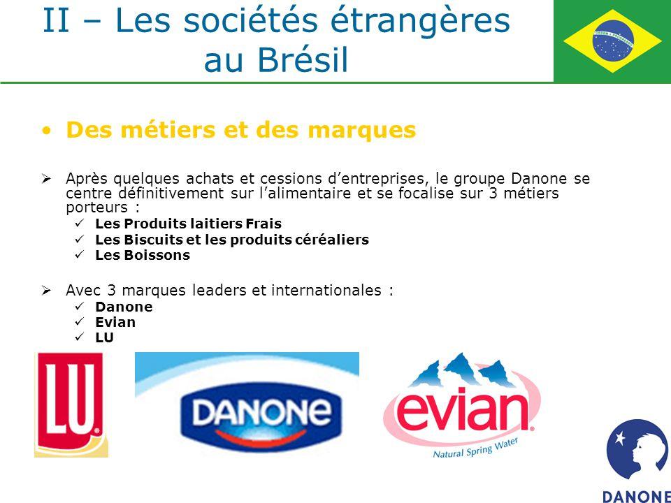 Des métiers et des marques Après quelques achats et cessions dentreprises, le groupe Danone se centre définitivement sur lalimentaire et se focalise s
