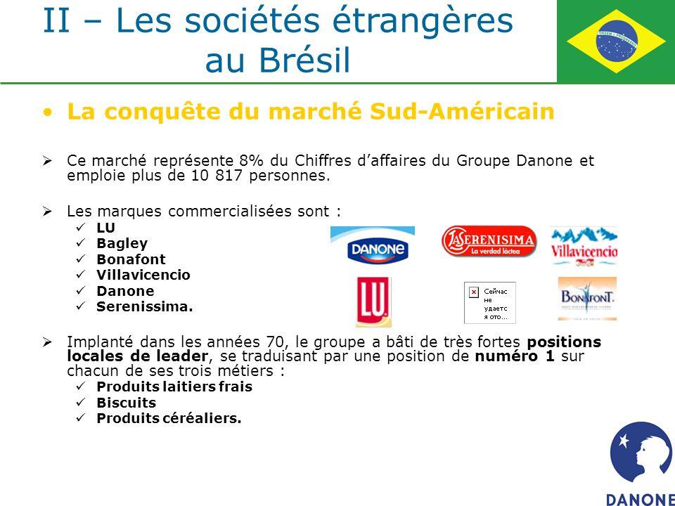 La conquête du marché Sud-Américain Ce marché représente 8% du Chiffres daffaires du Groupe Danone et emploie plus de 10 817 personnes. Les marques co