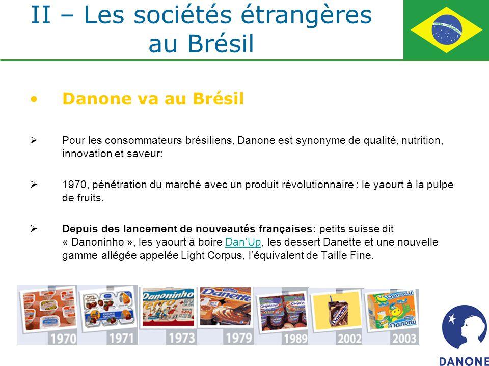 Danone va au Brésil Pour les consommateurs brésiliens, Danone est synonyme de qualité, nutrition, innovation et saveur: 1970, pénétration du marché av