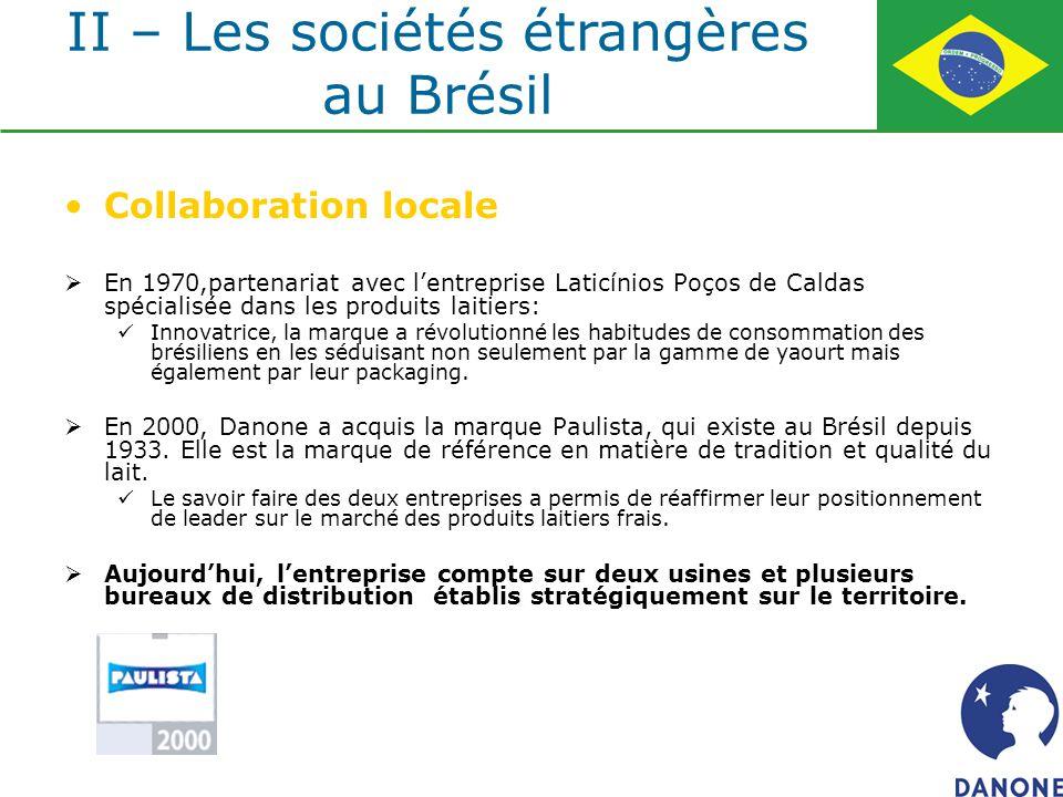 Collaboration locale En 1970,partenariat avec lentreprise Laticínios Poços de Caldas spécialisée dans les produits laitiers: Innovatrice, la marque a