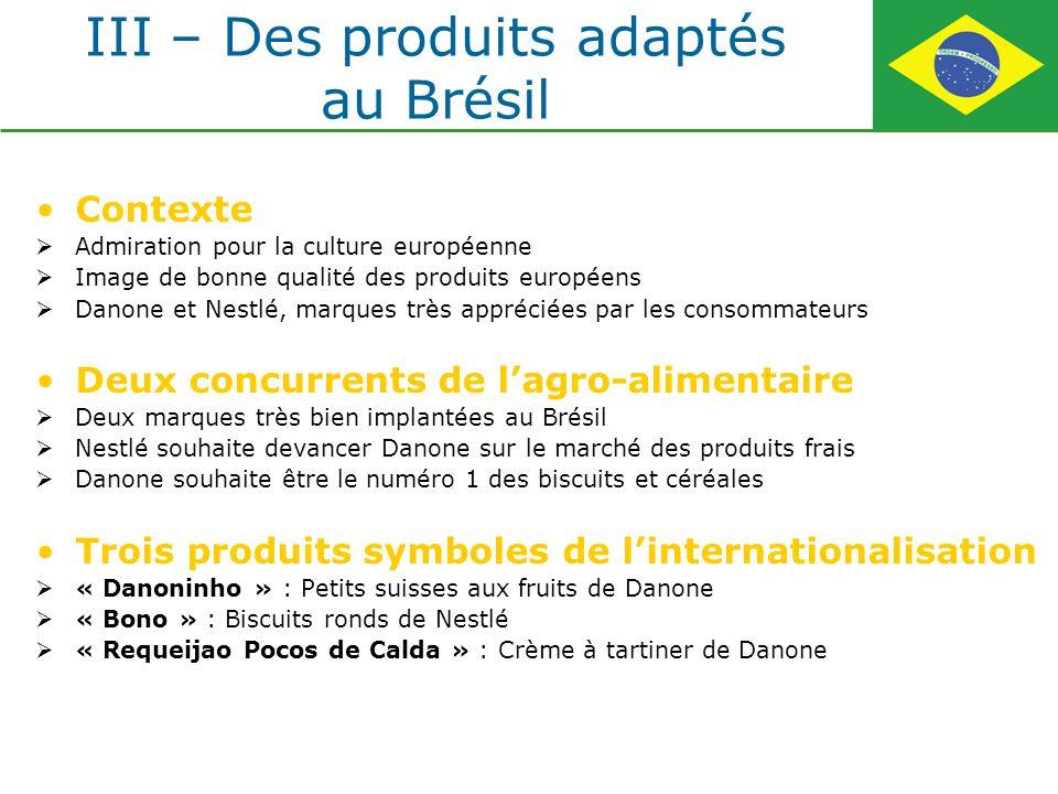 III – Des produits adaptés au Brésil Contexte Admiration pour la culture européenne Image de bonne qualité des produits européens Danone et Nestlé, ma