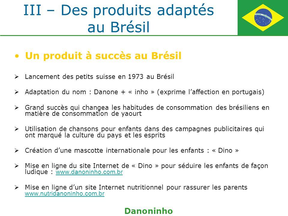 III – Des produits adaptés au Brésil Un produit à succès au Brésil Lancement des petits suisse en 1973 au Brésil Adaptation du nom : Danone + « inho »