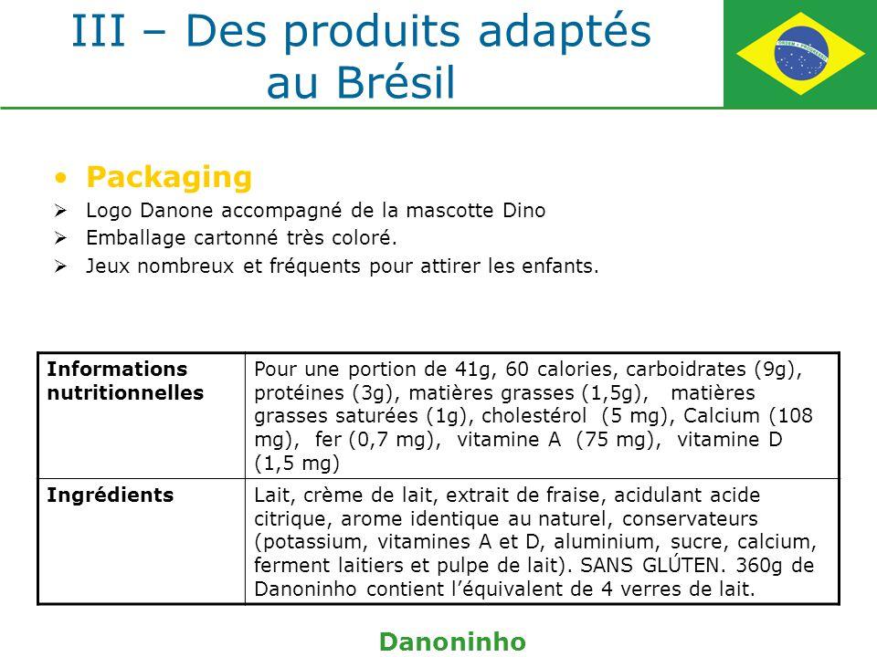 III – Des produits adaptés au Brésil Packaging Logo Danone accompagné de la mascotte Dino Emballage cartonné très coloré. Jeux nombreux et fréquents p