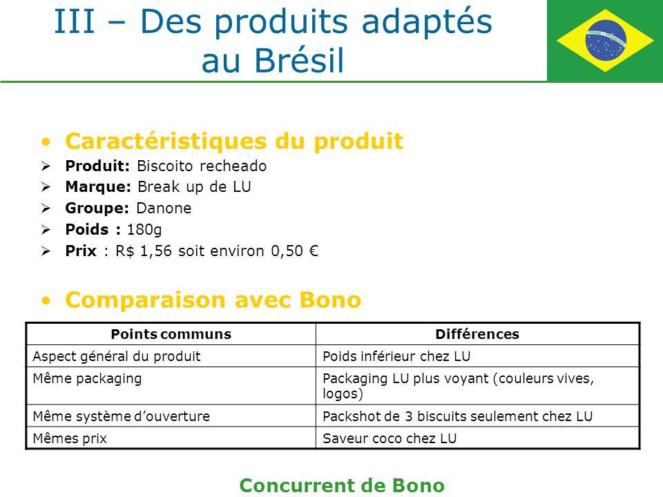 III – Des produits adaptés au Brésil Caractéristiques du produit Produit: Biscoito recheado Marque: Break up de LU Groupe: Danone Poids : 180g Prix :
