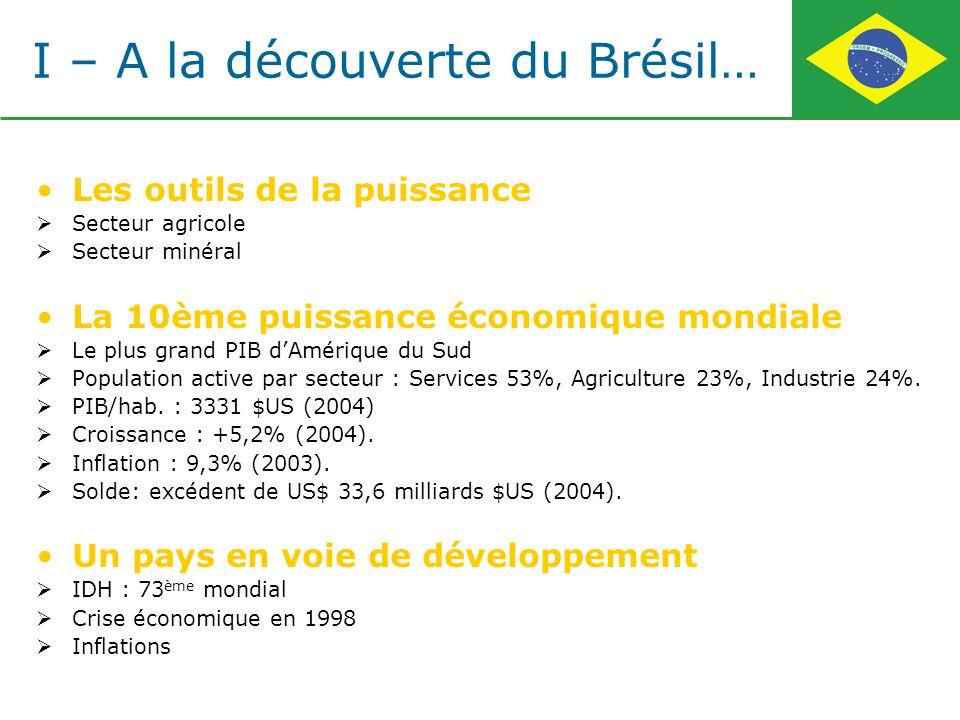 I – A la découverte du Brésil… Les outils de la puissance Secteur agricole Secteur minéral La 10ème puissance économique mondiale Le plus grand PIB dA