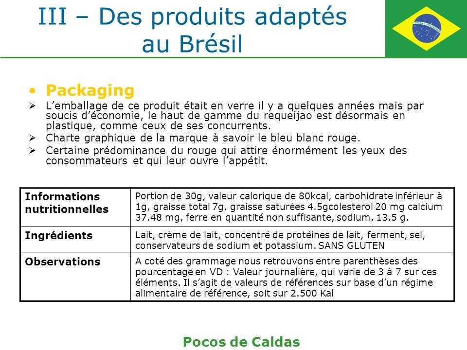 III – Des produits adaptés au Brésil Packaging Lemballage de ce produit était en verre il y a quelques années mais par soucis déconomie, le haut de ga