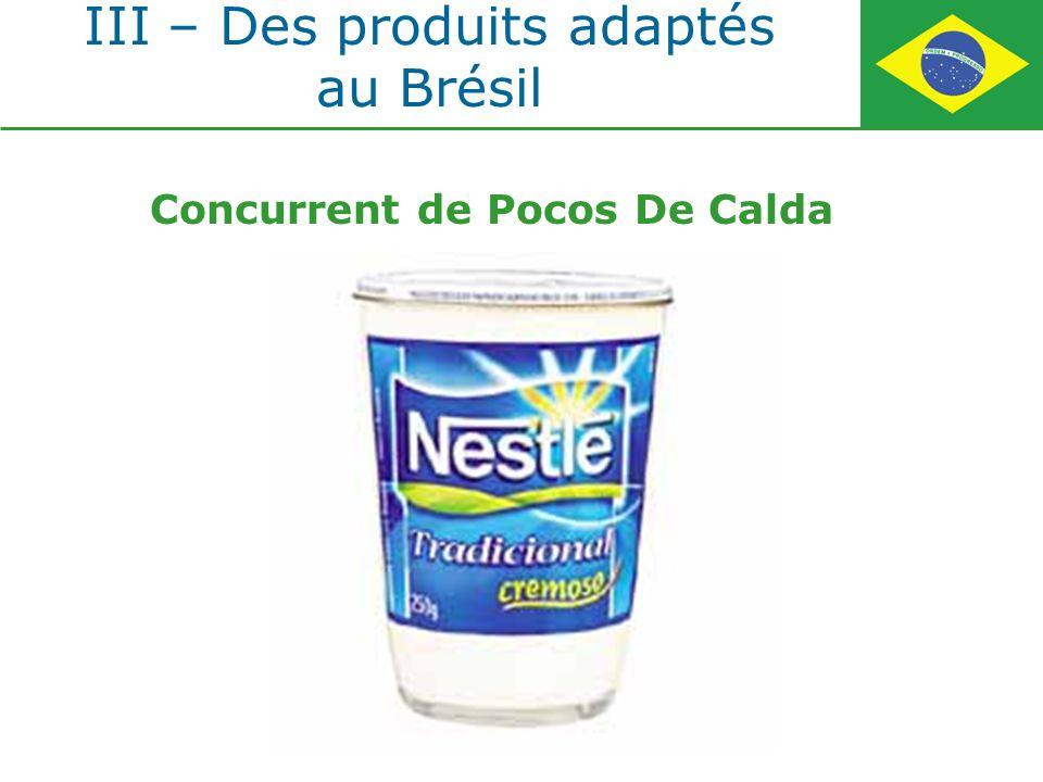 III – Des produits adaptés au Brésil Concurrent de Pocos De Calda