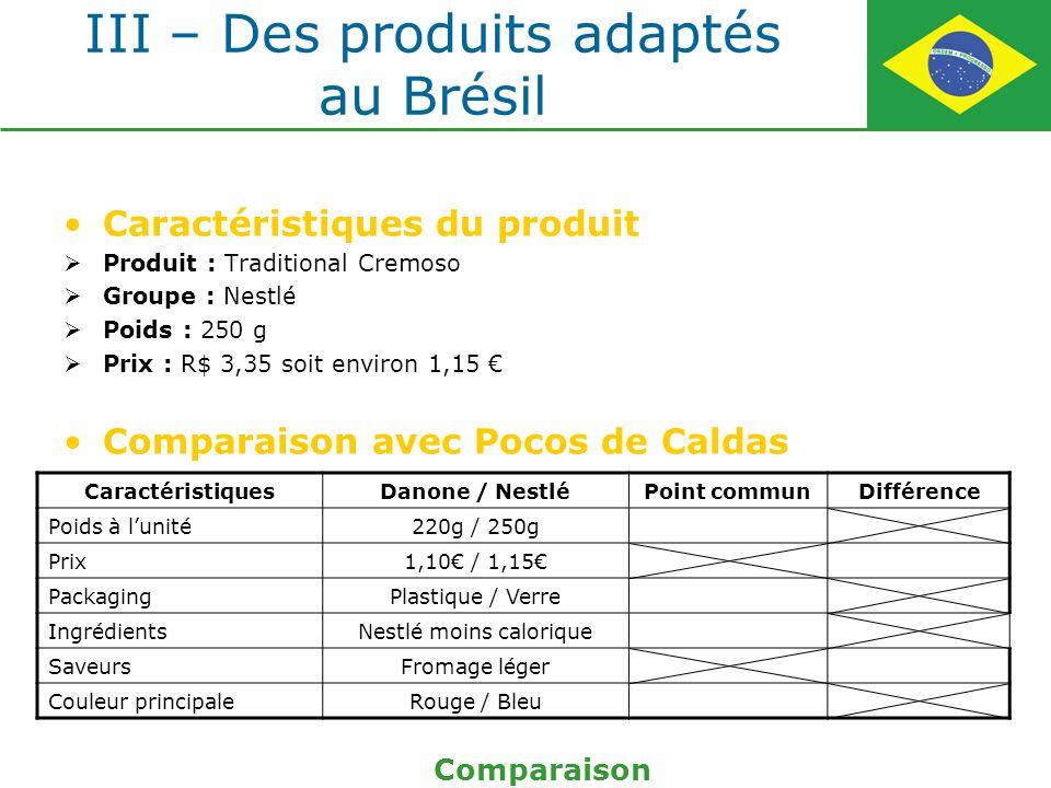 III – Des produits adaptés au Brésil Caractéristiques du produit Produit : Traditional Cremoso Groupe : Nestlé Poids : 250 g Prix : R$ 3,35 soit envir