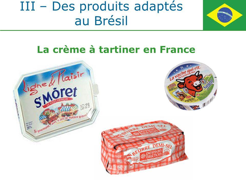 III – Des produits adaptés au Brésil La crème à tartiner en France
