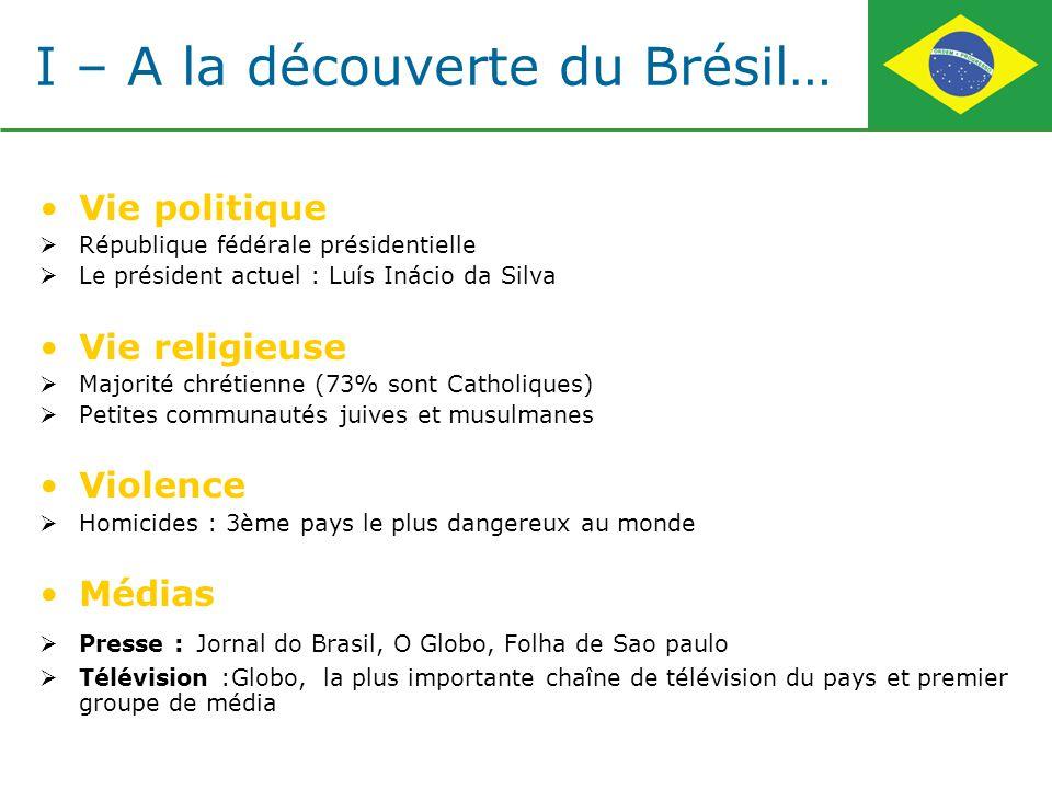 I – A la découverte du Brésil… Vie politique République fédérale présidentielle Le président actuel : Luís Inácio da Silva Vie religieuse Majorité chr