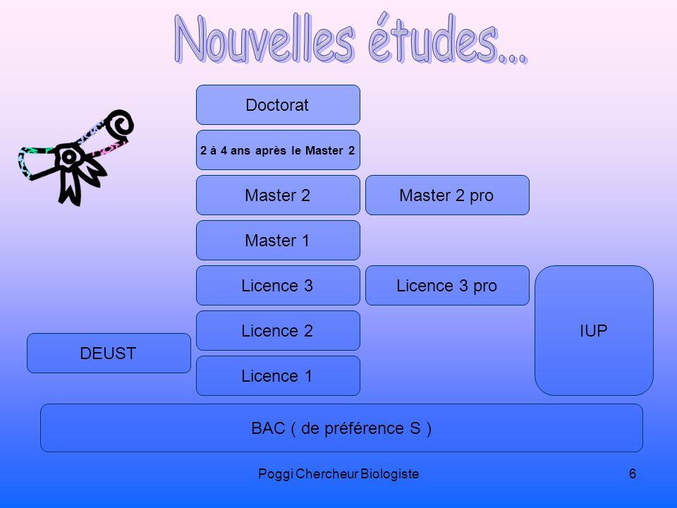 Poggi Chercheur Biologiste6 BAC ( de préférence S ) Licence 1 Licence 2 Licence 3Licence 3 pro IUP DEUST Master 1 Master 2Master 2 pro 2 à 4 ans après