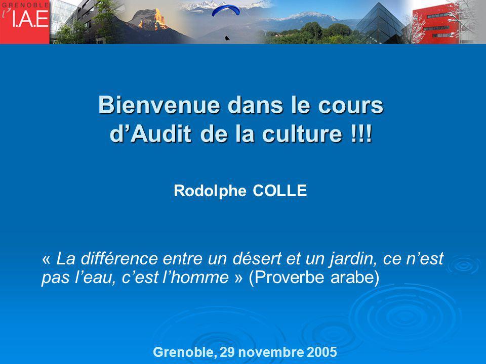 Bienvenue dans le cours dAudit de la culture !!! Rodolphe COLLE Grenoble, 29 novembre 2005 « La différence entre un désert et un jardin, ce nest pas l