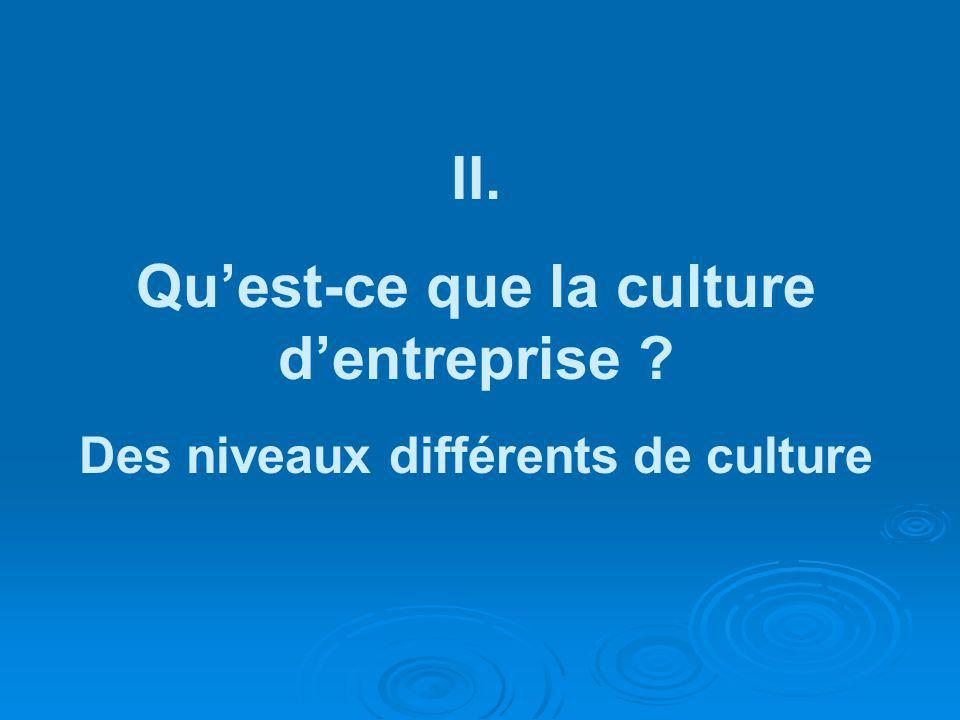 II. Quest-ce que la culture dentreprise ? Des niveaux différents de culture