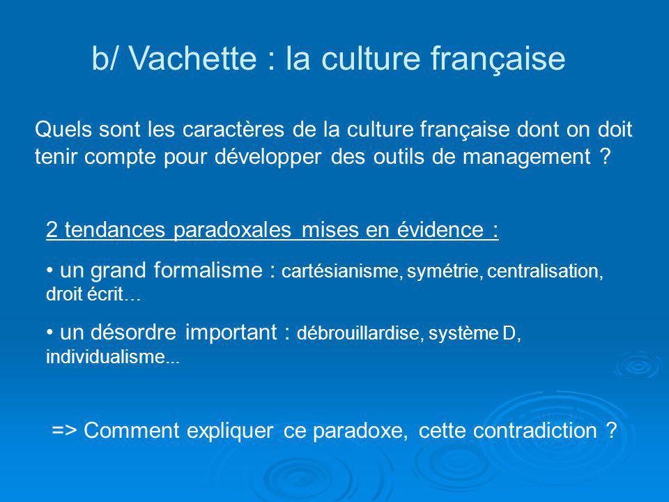 b/ Vachette : la culture française Quels sont les caractères de la culture française dont on doit tenir compte pour développer des outils de managemen