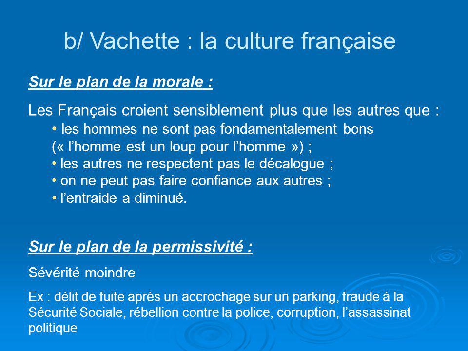 b/ Vachette : la culture française Sur le plan de la morale : Les Français croient sensiblement plus que les autres que : les hommes ne sont pas fonda