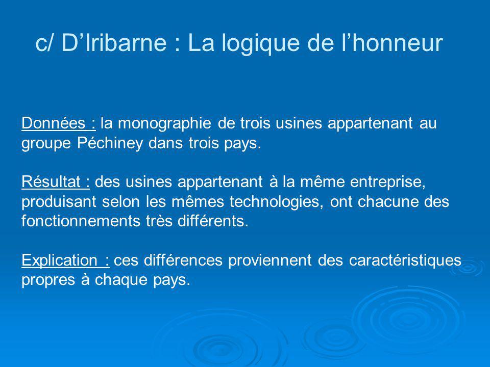 c/ DIribarne : La logique de lhonneur Données : la monographie de trois usines appartenant au groupe Péchiney dans trois pays. Résultat : des usines a
