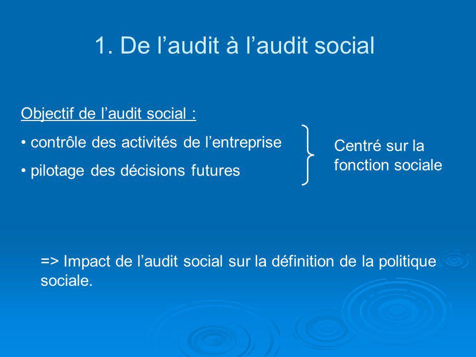 1. De laudit à laudit social Objectif de laudit social : contrôle des activités de lentreprise pilotage des décisions futures Centré sur la fonction s