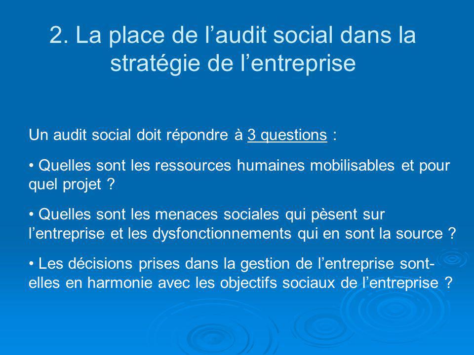 Un audit social doit répondre à 3 questions : Quelles sont les ressources humaines mobilisables et pour quel projet ? Quelles sont les menaces sociale
