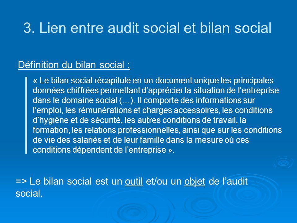 3. Lien entre audit social et bilan social Définition du bilan social : « Le bilan social récapitule en un document unique les principales données chi