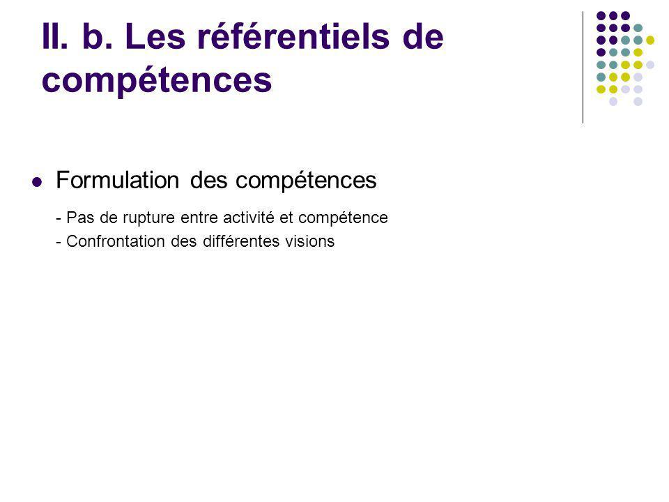 Formulation des compétences - Pas de rupture entre activité et compétence - Confrontation des différentes visions II. b. Les référentiels de compétenc