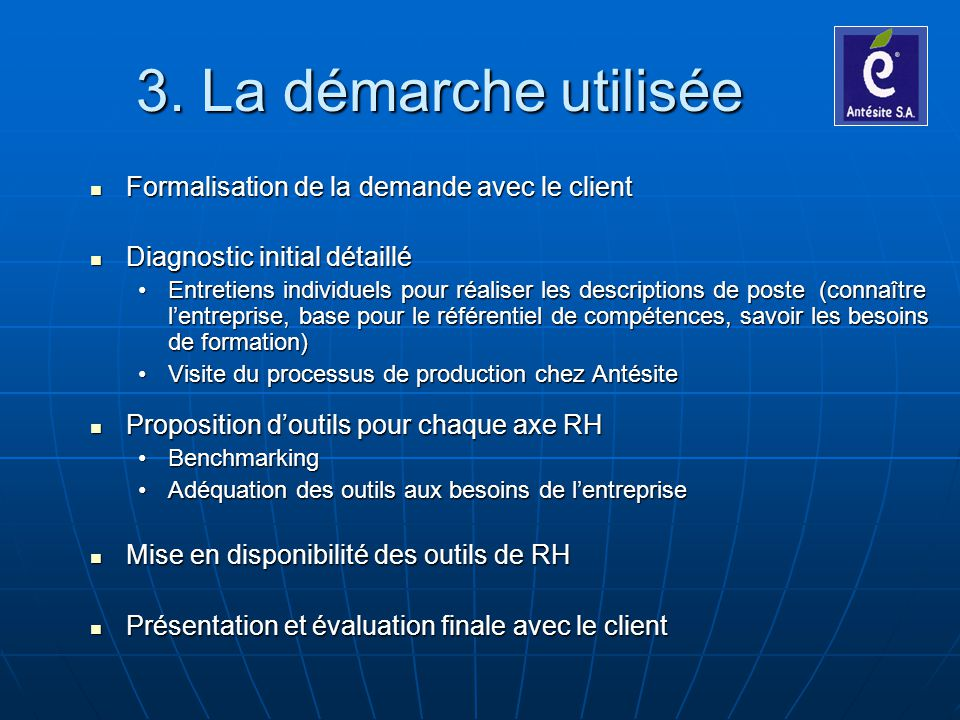 3. La démarche utilisée Formalisation de la demande avec le client Formalisation de la demande avec le client Diagnostic initial détaillé Diagnostic i