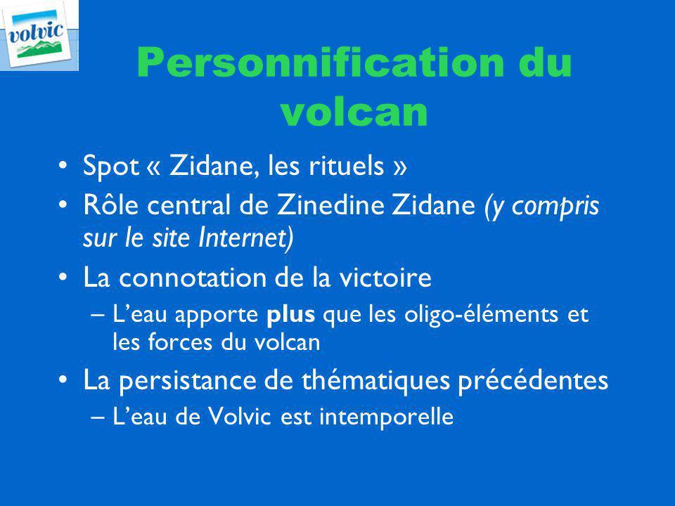 Personnification du volcan Spot « Zidane, les rituels » Rôle central de Zinedine Zidane (y compris sur le site Internet) La connotation de la victoire –Leau apporte plus que les oligo-éléments et les forces du volcan La persistance de thématiques précédentes –Leau de Volvic est intemporelle