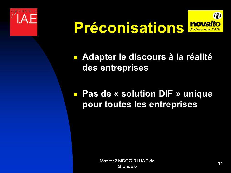 Master 2 MSGO RH IAE de Grenoble 11 Préconisations Adapter le discours à la réalité des entreprises Pas de « solution DIF » unique pour toutes les entreprises