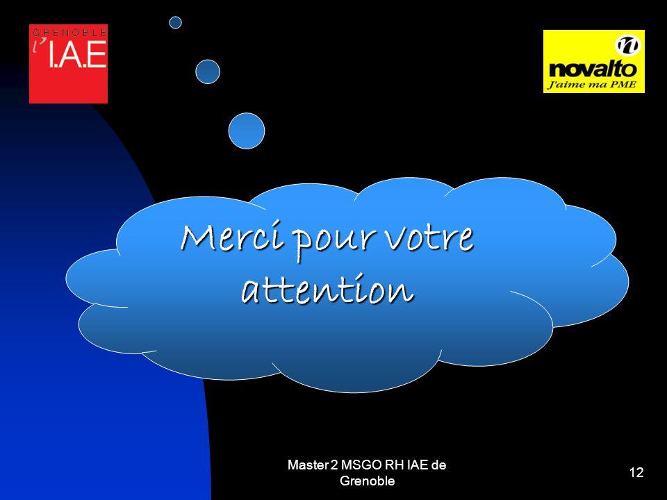 Master 2 MSGO RH IAE de Grenoble 12 Merci pour votre attention