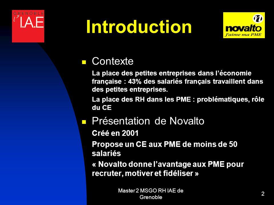 Master 2 MSGO RH IAE de Grenoble 2 Introduction Contexte La place des petites entreprises dans léconomie française : 43% des salariés français travaillent dans des petites entreprises.