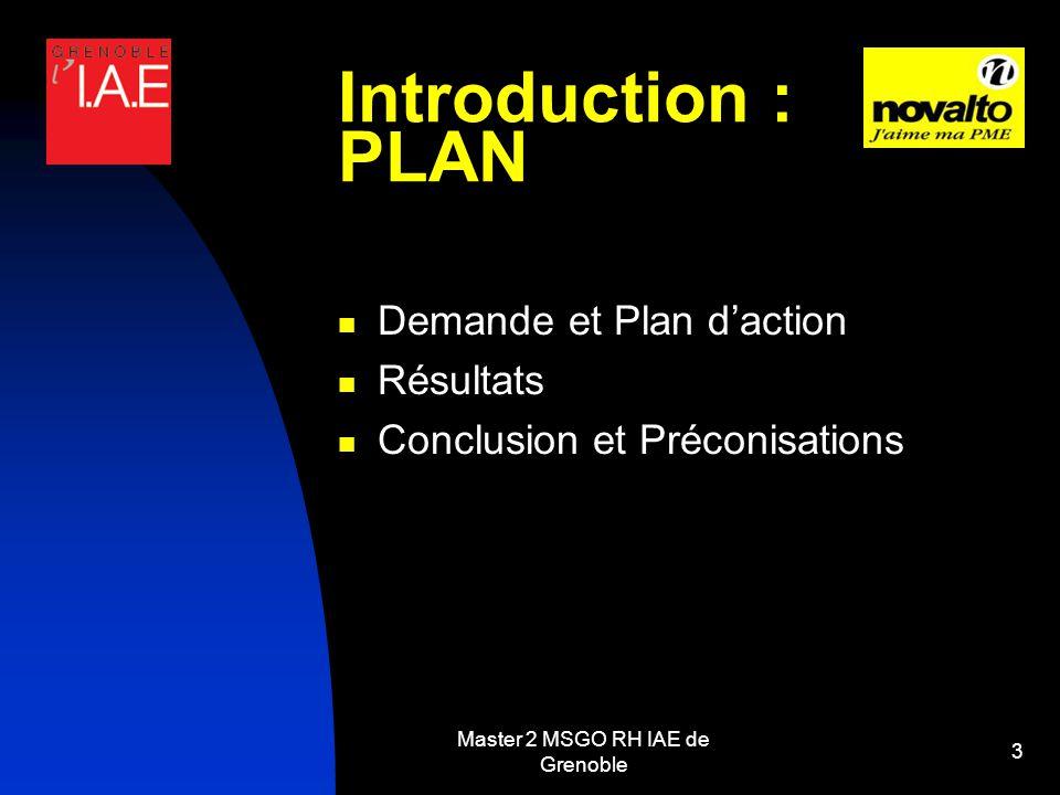 Master 2 MSGO RH IAE de Grenoble 3 Introduction : PLAN Demande et Plan daction Résultats Conclusion et Préconisations