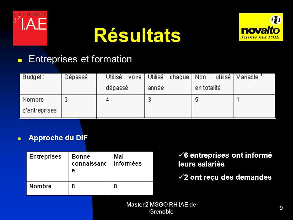 Master 2 MSGO RH IAE de Grenoble 9 Résultats Entreprises et formation Approche du DIF EntreprisesBonne connaissanc e Mal informées Nombre88 6 entreprises ont informé leurs salariés 2 ont reçu des demandes