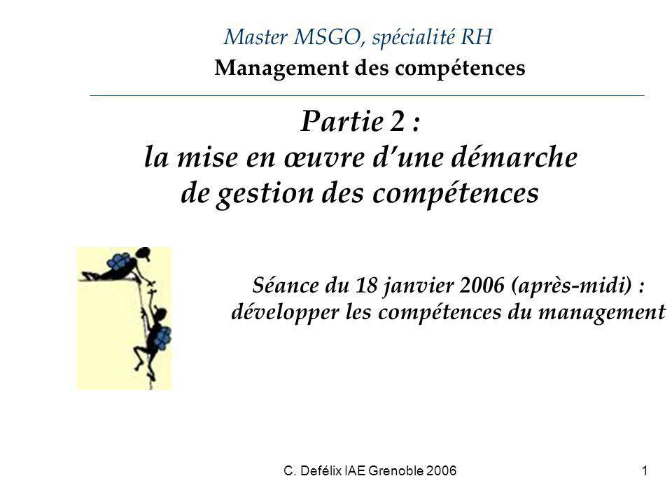 C. Defélix IAE Grenoble 20061 Master MSGO, spécialité RH Séance du 18 janvier 2006 (après-midi) : développer les compétences du management Management