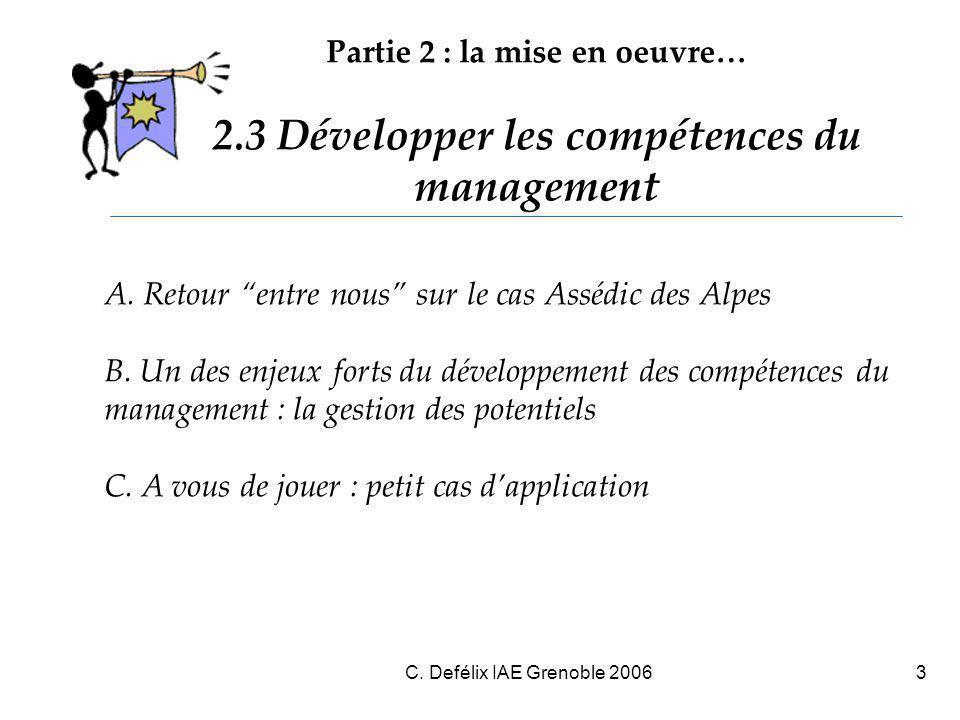 C. Defélix IAE Grenoble 20063 A. Retour entre nous sur le cas Assédic des Alpes B.