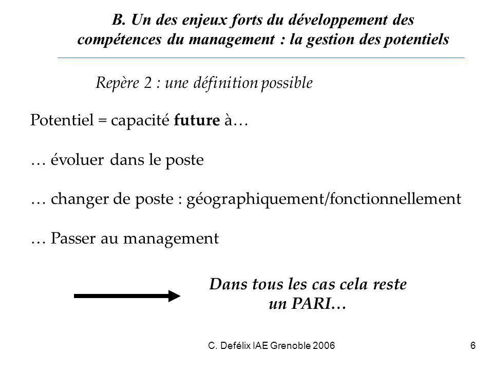 C. Defélix IAE Grenoble 20066 Repère 2 : une définition possible Potentiel = capacité future à… … évoluer dans le poste … changer de poste : géographi