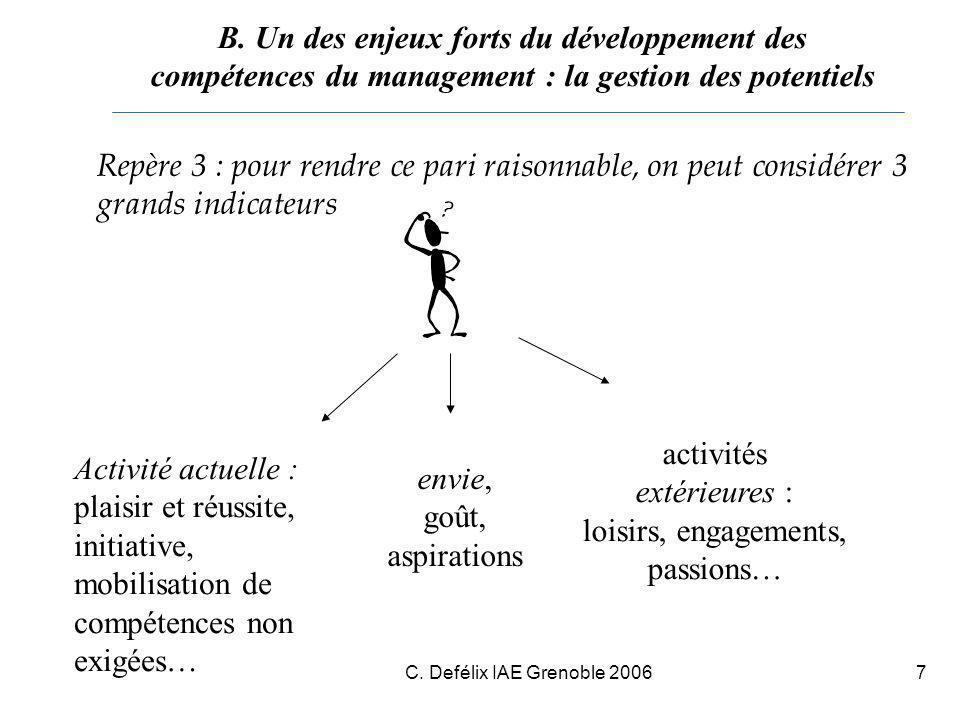C. Defélix IAE Grenoble 20067 Repère 3 : pour rendre ce pari raisonnable, on peut considérer 3 grands indicateurs B. Un des enjeux forts du développem