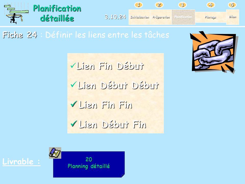 PréparationPlanification Pilotage Bilan Initialisation 12345 Planificationdétaillée 3.10.24 Fiche 24 Fiche 24 : Définir les liens entre les tâches Liv