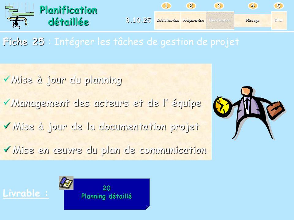 PréparationPlanification Pilotage Bilan Initialisation 12345 Planificationdétaillée 3.10.25 Fiche 25 Fiche 25 : Intégrer les tâches de gestion de proj