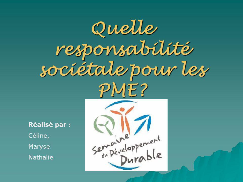 Introduction Un concept novateur : la RSE Un concept novateur : la RSE Lentreprise a un double rôle : Lentreprise a un double rôle : –Rôle économique –Rôle social Les PME se sentent-elles concernées par la responsabilité sociétale.