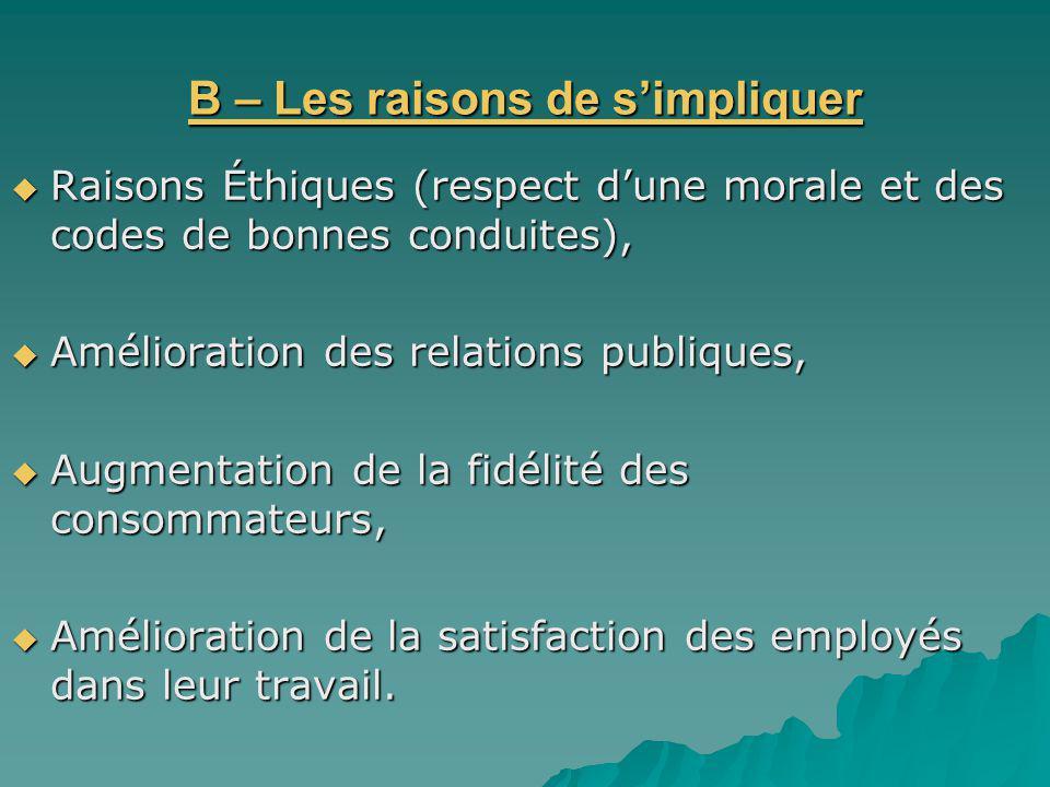 B – Les raisons de simpliquer Raisons Éthiques (respect dune morale et des codes de bonnes conduites), Raisons Éthiques (respect dune morale et des co