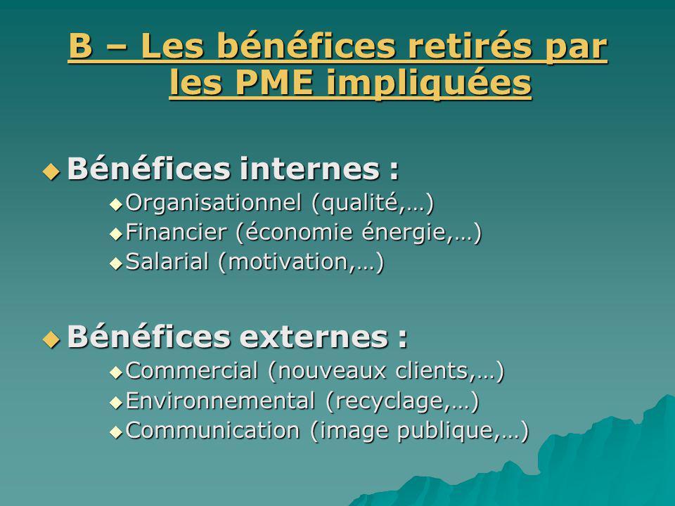 B – Les bénéfices retirés par les PME impliquées Bénéfices internes : Bénéfices internes : Organisationnel (qualité,…) Organisationnel (qualité,…) Fin