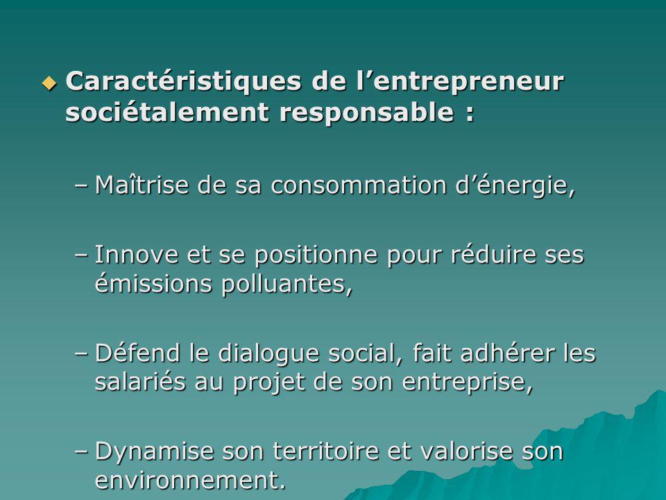 Caractéristiques de lentrepreneur sociétalement responsable : Caractéristiques de lentrepreneur sociétalement responsable : –Maîtrise de sa consommati