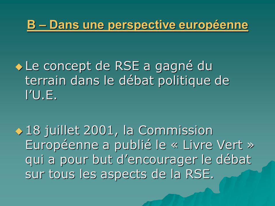 B – Dans une perspective européenne Le concept de RSE a gagné du terrain dans le débat politique de lU.E. Le concept de RSE a gagné du terrain dans le