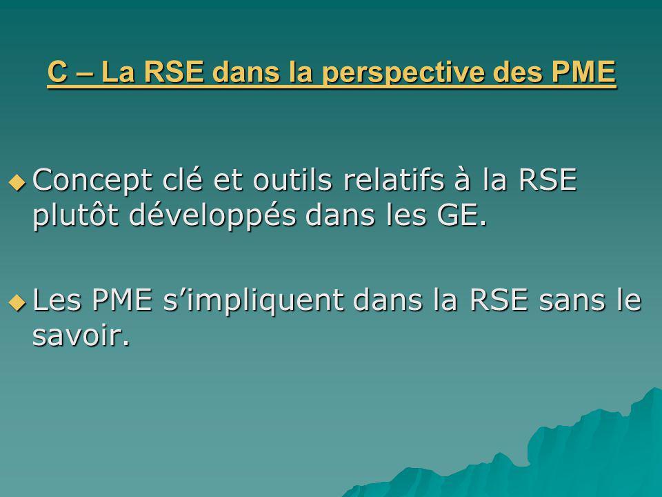 C – La RSE dans la perspective des PME Concept clé et outils relatifs à la RSE plutôt développés dans les GE. Concept clé et outils relatifs à la RSE