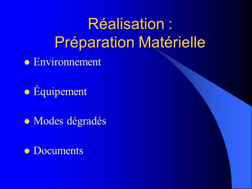Réalisation : Préparation Matérielle Environnement Équipement Modes dégradés Documents