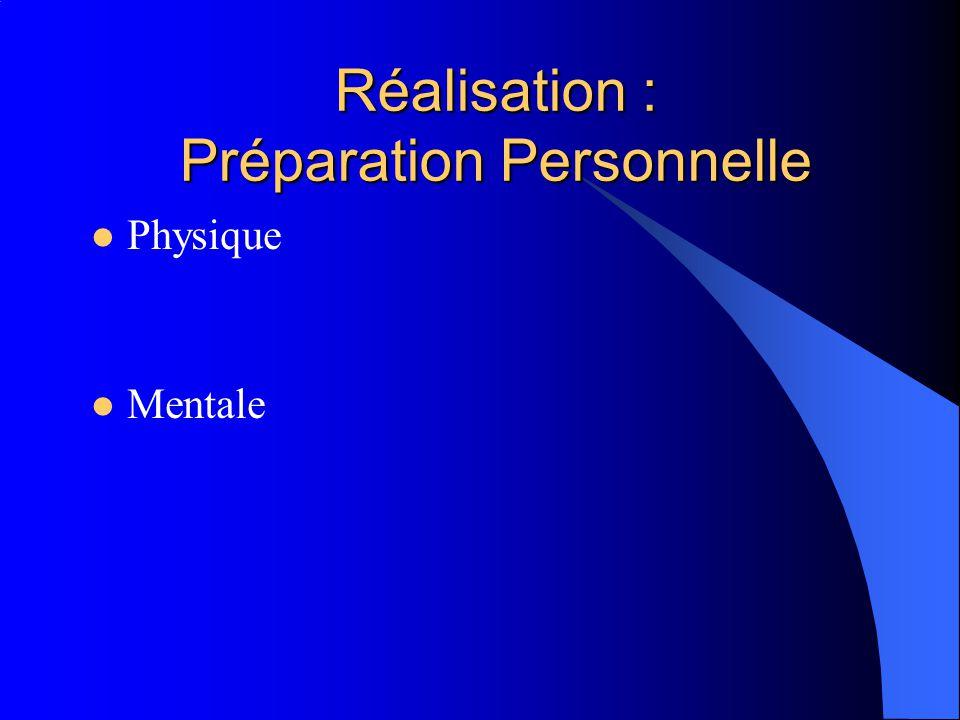 Réalisation : Préparation Personnelle Physique Mentale