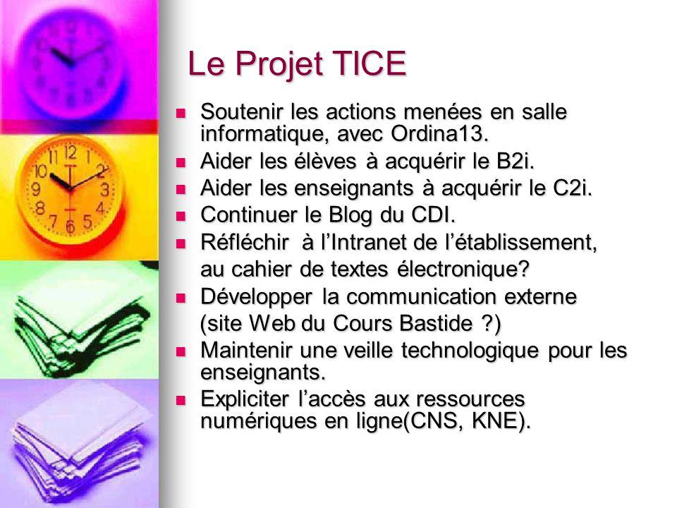 Le Projet TICE Soutenir les actions menées en salle informatique, avec Ordina13. Soutenir les actions menées en salle informatique, avec Ordina13. Aid