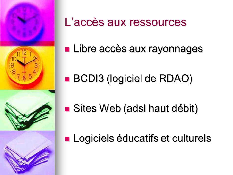Laccès aux ressources Libre accès aux rayonnages Libre accès aux rayonnages BCDI3 (logiciel de RDAO) BCDI3 (logiciel de RDAO) Sites Web (adsl haut déb