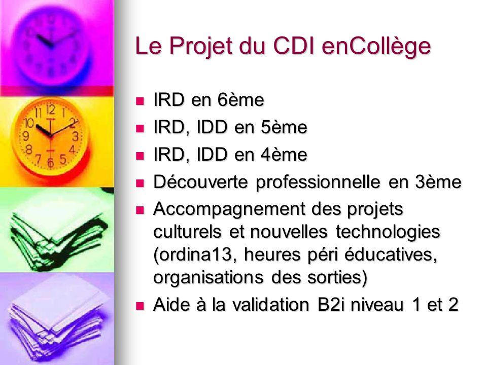 Le Projet du CDI enCollège IRD en 6ème IRD en 6ème IRD, IDD en 5ème IRD, IDD en 5ème IRD, IDD en 4ème IRD, IDD en 4ème Découverte professionnelle en 3